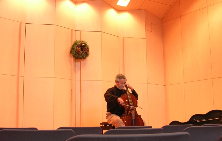 Hidemi warming up before a solo Bach recital